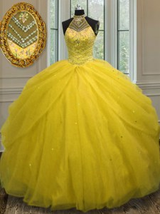 Gold Tulle Lace Up Halter Top Sleeveless Floor Length 15 Quinceanera Dress Beading