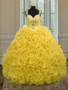 Inexpensive Gold Ball Gowns Organza Sweetheart Sleeveless Beading and Ruffles Floor Length Zipper Quinceanera Dress