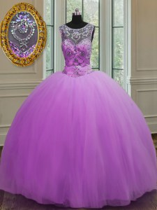 Halter Top Floor Length Ball Gowns Sleeveless Purple Quinceanera Gown Lace Up