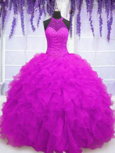 Floor Length Ball Gowns Sleeveless Fuchsia Quinceanera Dress Lace Up