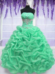 Charming Strapless Sleeveless Organza Ball Gown Prom Dress Beading Lace Up