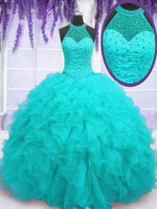 Aqua Blue Organza Lace Up Quinceanera Dresses Sleeveless Floor Length Beading and Ruffles