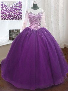 Scoop Beading and Sequins Quinceanera Dresses Purple Lace Up Long Sleeves Sweep Train
