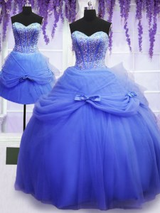 Three Piece Blue Sleeveless Floor Length Beading and Bowknot Lace Up Sweet 16 Quinceanera Dress