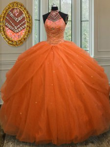 Cheap Halter Top Orange Red Sleeveless Tulle Lace Up Sweet 16 Quinceanera Dress for Military Ball and Sweet 16 and Quinceanera