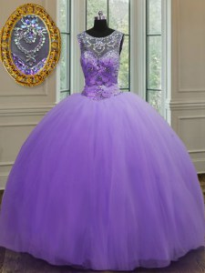 Classical Ball Gowns Sweet 16 Quinceanera Dress Lavender Scoop Tulle Sleeveless Floor Length Lace Up