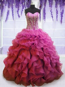 On Sale Floor Length Lilac Quinceanera Dresses Organza Sleeveless Beading and Ruffles