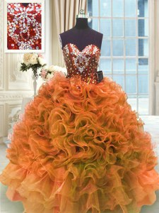 Fashion Sleeveless Floor Length Ruffles Lace Up 15th Birthday Dress with Orange