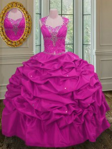 Affordable Straps Cap Sleeves Taffeta Quinceanera Gown Beading and Pick Ups Lace Up