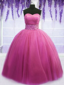 Classical Floor Length Rose Pink Quinceanera Dress Tulle Sleeveless Beading and Belt