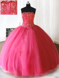 Floor Length Hot Pink Quinceanera Gown Tulle Sleeveless Beading and Appliques