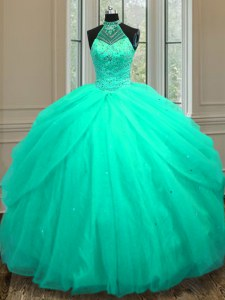 Sequins Floor Length Turquoise 15 Quinceanera Dress Halter Top Sleeveless Lace Up