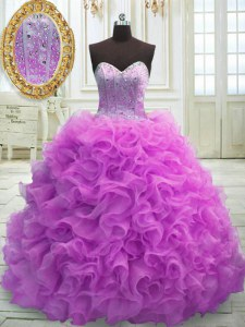 Flirting Lilac Vestidos de Quinceanera Organza Sweep Train Sleeveless Beading and Ruffles
