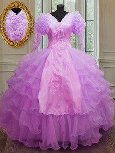 Sumptuous V-neck Long Sleeves Organza Quince Ball Gowns Ruffled Layers Zipper