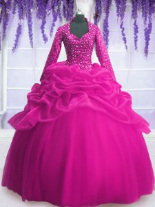 Organza Long Sleeves Floor Length Quinceanera Dress and Sequins and Pick Ups