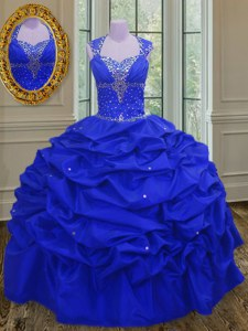 Chic Straps Royal Blue Lace Up Quinceanera Gown Beading and Pick Ups Sleeveless Floor Length