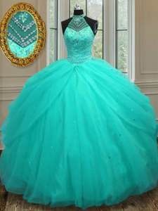 Stunning Aqua Blue Halter Top Lace Up Beading Quinceanera Gown Sleeveless