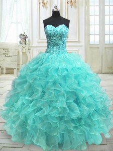 Graceful Aqua Blue Organza Lace Up Sweetheart Sleeveless Floor Length 15th Birthday Dress Beading and Ruffles