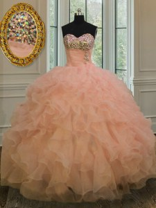 Stylish Peach Vestidos de Quinceanera Military Ball and Sweet 16 and Quinceanera and For with Beading and Ruffles Sweetheart Sleeveless Lace Up