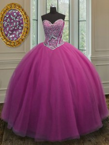 Superior Sleeveless Floor Length Beading Lace Up Quince Ball Gowns with Lilac