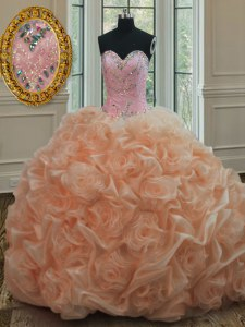 Peach Ball Gowns Organza Sweetheart Sleeveless Beading and Pick Ups Lace Up Sweet 16 Dresses Sweep Train