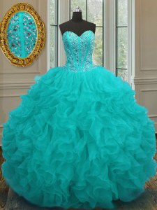 Aqua Blue Sleeveless Floor Length Beading and Ruffles Lace Up Sweet 16 Dresses