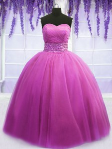 Designer Sleeveless Tulle Floor Length Lace Up Vestidos de Quinceanera in Lilac with Beading and Belt