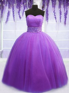 Eye-catching Purple Sleeveless Tulle Lace Up 15th Birthday Dress for Military Ball and Sweet 16 and Quinceanera