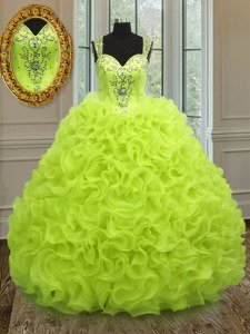 High Class Yellow Green Ball Gowns Organza Straps Sleeveless Beading and Ruffles Floor Length Zipper Quinceanera Gowns