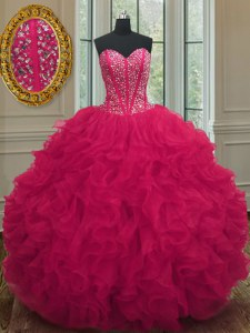 Artistic Sleeveless Floor Length Beading and Ruffles Lace Up Quinceanera Gown with Coral Red