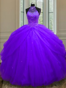 Modern Halter Top Sleeveless Quince Ball Gowns Floor Length Beading and Sequins Purple Tulle