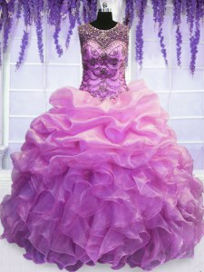 Cheap Lilac Scoop Neckline Beading and Pick Ups Ball Gown Prom Dress Sleeveless Lace Up