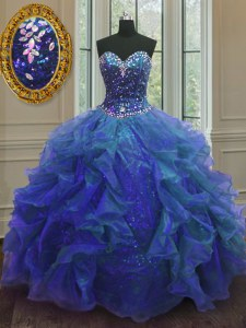 Super Organza and Sequined Sweetheart Sleeveless Lace Up Beading and Ruffles 15th Birthday Dress in Blue
