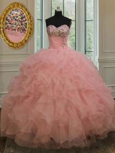 Wonderful Watermelon Red Organza Lace Up Quinceanera Gowns Sleeveless Floor Length Beading and Ruffles