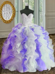 Custom Design White and Purple Sweetheart Neckline Beading and Ruffles Sweet 16 Dress Sleeveless Lace Up