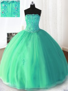 Turquoise Sleeveless Tulle Lace Up Quinceanera Gown for Military Ball and Sweet 16 and Quinceanera
