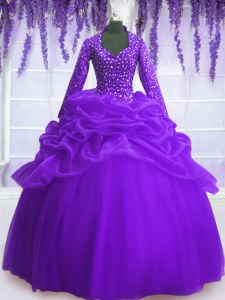 Purple Ball Gowns V-neck Long Sleeves Organza Floor Length Zipper Sequins and Pick Ups Quinceanera Gowns