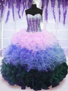 Best Sleeveless Organza Floor Length Lace Up Quinceanera Dress in Multi-color with Beading and Ruffles and Ruffled Layers