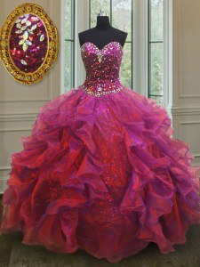 Stunning Multi-color Lace Up Vestidos de Quinceanera Beading and Ruffles Sleeveless Floor Length