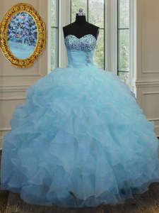 Nice Baby Blue Sweetheart Lace Up Beading and Ruffles Quinceanera Dresses Sleeveless