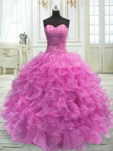 Lilac Sweetheart Lace Up Beading and Ruffles Sweet 16 Quinceanera Dress Sleeveless