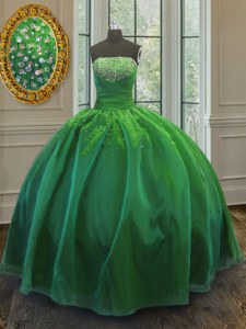 Green Ball Gowns Sequins Quinceanera Dress Lace Up Organza Sleeveless Floor Length