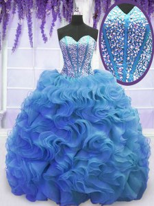 Sweetheart Sleeveless 15 Quinceanera Dress Sweep Train Beading and Ruffles Baby Blue Organza