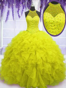 Affordable High-neck Sleeveless Sweet 16 Dresses Floor Length Beading and Ruffles Yellow Organza