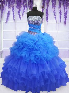 Inexpensive Floor Length Blue Sweet 16 Quinceanera Dress Organza Sleeveless Beading and Ruffled Layers and Pick Ups