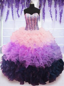 Deluxe Multi-color Ball Gowns Beading and Ruffles and Ruffled Layers 15 Quinceanera Dress Lace Up Organza Sleeveless Floor Length