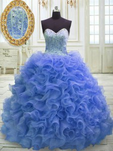 Discount Blue Lace Up Quinceanera Dresses Beading and Ruffles Sleeveless Sweep Train