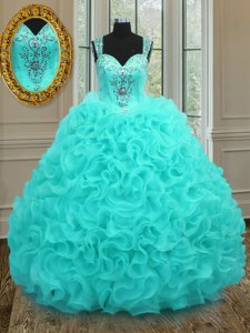 Floor Length Aqua Blue Ball Gown Prom Dress Straps Sleeveless Zipper