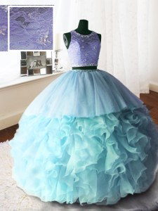 Excellent Baby Blue Ball Gowns Organza and Tulle and Lace Scoop Sleeveless Beading and Lace and Ruffles With Train Zipper Quince Ball Gowns Brush Train
