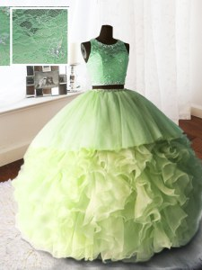 Yellow Green 15 Quinceanera Dress Military Ball and Sweet 16 and Quinceanera and For with Beading and Lace and Ruffles Scoop Sleeveless Brush Train Zipper
